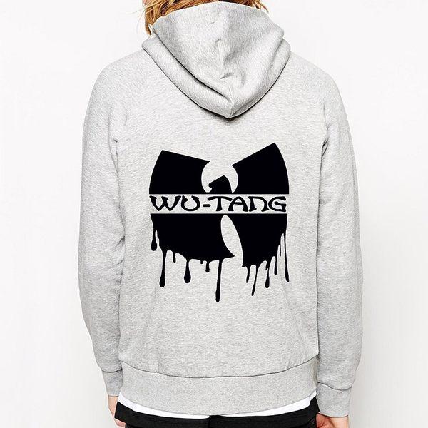 Dripping WU TANG CLAN 金屬拉鍊連帽刷毛外套-灰色 hip hop rap 武當派