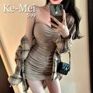 克妹Ke-Mei【ZT65307】OL輕熟奶茶性感抹胸洋裝+經典格紋襯杉外套套裝