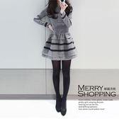 長袖洋裝 素色荷葉邊條紋連身裙 -媚儷香檳- 【D234】