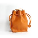 真皮側背包-簡約抽繩牛皮水桶包女肩背包4色73vd11【巴黎精品】