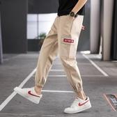 男士休閒長褲2020新款韓版潮流寬鬆束腳工裝褲夏天九分運動褲子男 快速出貨