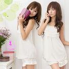 睡衣 性感睡衣 清新純白二件式性感睡衣 星光密碼J033