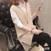 針織馬甲女中長款V領韓版寬鬆新款無袖毛衣坎肩外套 zm8383『俏美人大尺碼』