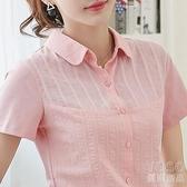 翻領polo衫t恤女短袖媽媽夏裝女士t桖純棉有領體袖上衣潮 優尚良品