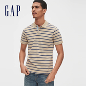 Gap男裝棉質條紋設計短袖POLO衫532548-沙灘卡其色
