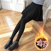 (低價促銷)假兩件打底褲女外穿秋冬新品正韓顯瘦刷毛加厚踩腳連裙褲