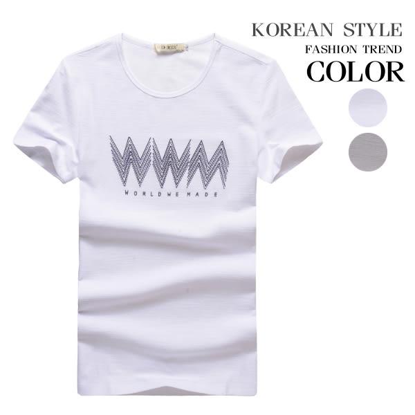 幾何波型印花短袖上衣(二色)【A31221】