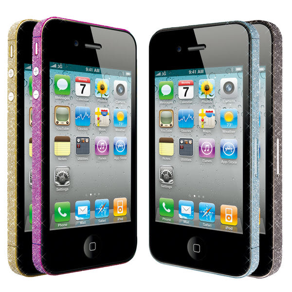 Ozaki iCoat BlingBling iPhone 4/4S 專用時尚邊框晶亮貼(藍+紫)
