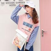 長袖T恤/翻領女寬鬆學生格子衣服春裝上衣女「歐洲站」