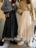春季中長裙子女裝蕾絲a字裙小個子網紗半身裙春秋配毛衣 伊衫風尚