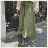 ✦Styleon✦正韓。無印風腰間抽繩前短後長大口袋傘狀長裙。韓國連線。韓國空運。0911。