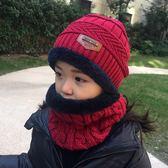 兒童毛線帽子加絨寶寶秋冬針織保暖帽子圍巾套裝男女童圍脖潮韓版 蜜拉貝爾