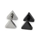 316L醫療鋼 雙面大三角形 啞鈴款旋轉耳環-銀、黑 防抗過敏 單支販售