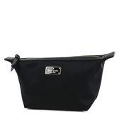 美國正品 KATE SPADE 素面厚尼龍拉鍊船型化妝包-黑色【現貨】