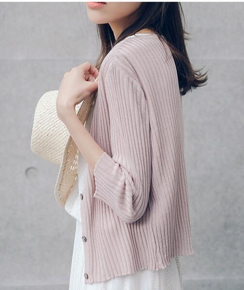 女短款 鏤空針織衫  薄小外套 七分袖
