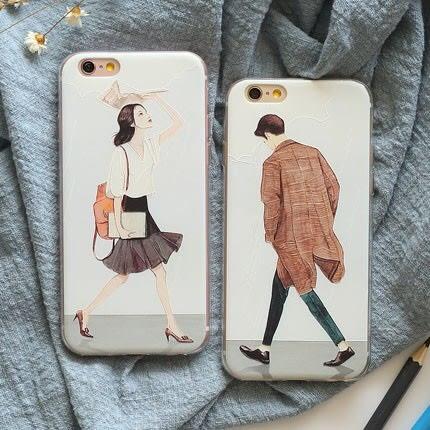 iPhone手機殼 向左走向右走 浮雕磨砂軟殼 蘋果iPhone7/iPhone6手機殼
