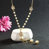 珍珠毛衣鍊-鑲鑽水晶小星星生日聖誕節禮物女項鍊5色73gc27[時尚巴黎]