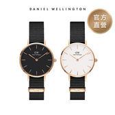 [ 領券現折$618 ] DW 手錶 28mm玫瑰金框 Classic Petite 寂靜黑織紋手錶