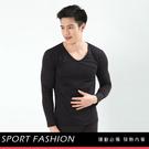 3M吸濕排汗技術機能 內裡刷毛 保暖衣 發熱衣 男生款V領  黑色