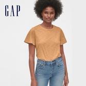 Gap女裝 棉質舒適純色短袖T恤 577551-薑黃色