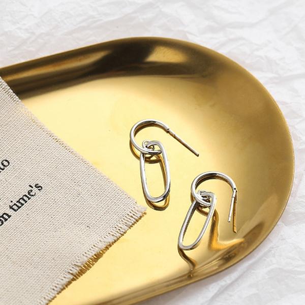 現貨不用等 韓國少女氣質甜美百搭簡約幾何小C迴紋針垂墜耳針 S93283 批發價 Danica 韓系飾品