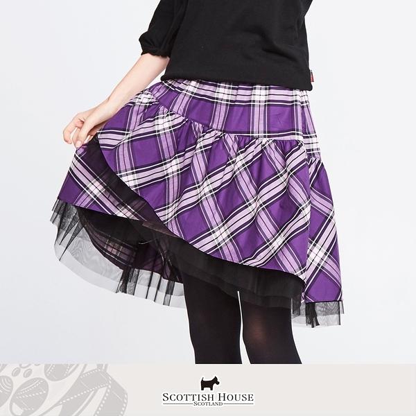不規則內襯紗斜格長裙 Scottish House 【AM2116】