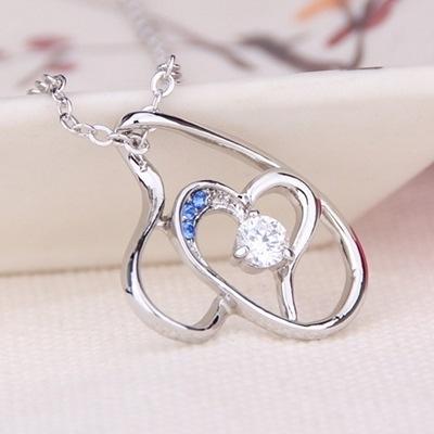 925純銀項鍊 鑲鑽墜飾-鏤空心型生日母親節禮物女飾品5色73aj77【巴黎精品】