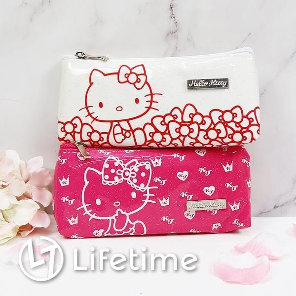 ﹝Kitty閃亮方型鉛筆袋﹞正版 筆袋 鉛筆盒 收納袋 亮面 化妝包 凱蒂貓〖LifeTime一生流行館〗