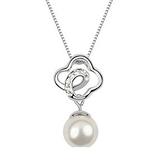 項鍊 925純銀 珍珠墜飾-絢麗鑲鑽生日情人節禮物女飾品銀飾3色73aj598[時尚巴黎]