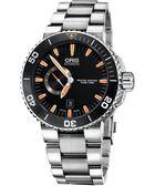 ORIS 豪利時 Aquis 專業潛水小秒針陶瓷機械手錶-橘時標 0174376734159-0782601PEB