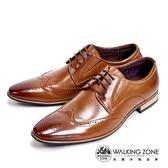 WALKING ZONE 嚴選木頭跟雕花質感男皮鞋-棕(另有黑)