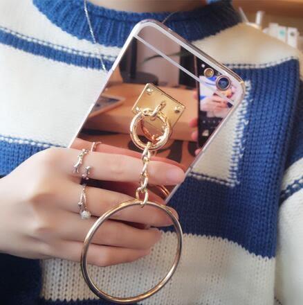 【SZ24】OPPO R9s plus手機殼 鏡面吊墜大環 OPPO R9手機殼 R9s保護套 R9plus外殼