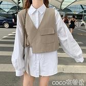 小馬甲 春秋裝2021新款女韓版休閒無袖西裝馬甲短外套燈籠袖襯衫兩件套潮 coco
