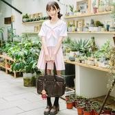 日本海軍風水手服粉色學生JK制服關東襟三本女學生短袖百褶裙套裝