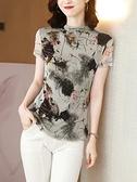 蕾絲短袖 印花蕾絲衫新款彈力網紗針織t恤女夏圓領短袖修身氣質打底衫上衣