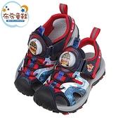 《布布童鞋》POLI救援小英雄羅伊紅色點陣迷彩兒童電燈護趾涼鞋(15~19公分) [ B1B222A ]