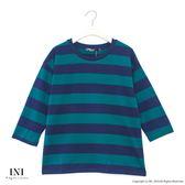 【INI】青春氣息、色彩配色條紋上衣.綠色