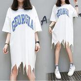 韓版休閒T裙XL-5XL中大碼22517/女裝胖mm加肥加大夏裝新款時尚不規則擺T皇潮天下白色