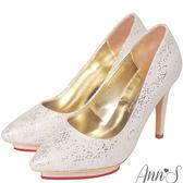 Ann'S公主宴會-細膩蕾絲亮片愛心防水台尖頭高跟鞋-白