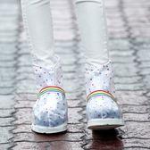 《J 精選》小圓點點都會時尚中筒防水/防雨鞋套