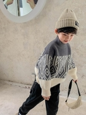 男童上衣男童毛衣秋冬新款半高領冬季厚款水貂絨冬裝兒童針織打底洋氣童趣屋促銷好物