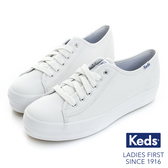 KEDS 經典厚底皮革綁帶休閒鞋│小白鞋 TRIPLE KICK系列 白 173W132224 女鞋