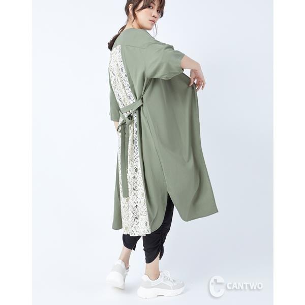 【南紡購物中心】CANTWO後片拼接蕾絲長板罩衫-綠色