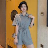 韓版寬鬆高腰連體褲女顯瘦休閒褲闊腿褲夏季新款學生短褲子 亞斯藍
