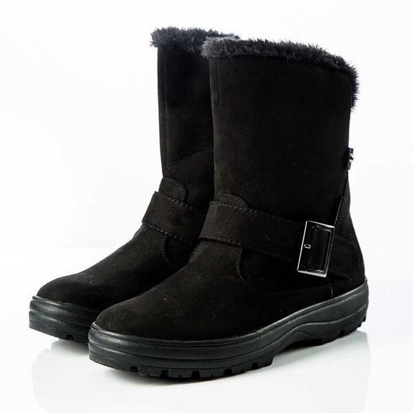 【Liberator】女中筒防潑水扣帶拉鍊雪鞋『黑』L5025 (冰爪 / 內厚鋪毛 /防滑鞋底) 雪地靴.雪鞋