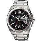 【CASIO 卡西歐】EDIFICE 三針系列星期日期手錶-黑x銀 EF-129D-1AVUDF