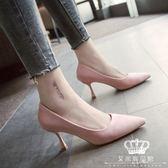 跟鞋 正韓尖頭淺口粉色絨面性感細跟高跟鞋單鞋女中跟 交換禮物