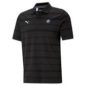 Puma BMW 黑色 男款 短袖 POLO衫 上衣 運動 高爾夫 排汗 棉質 透氣 條紋 polo衫 59952401