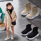 女童鞋 女童鞋秋款單鞋中大童運動彈力兒童男高幫針織飛織時尚襪子鞋 快速出货
