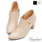 裸靴 優雅美型側掛飾高跟靴-米